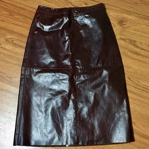 🎁 NWT vtg 8-Panel Wet Look Leather Pencil Skirt